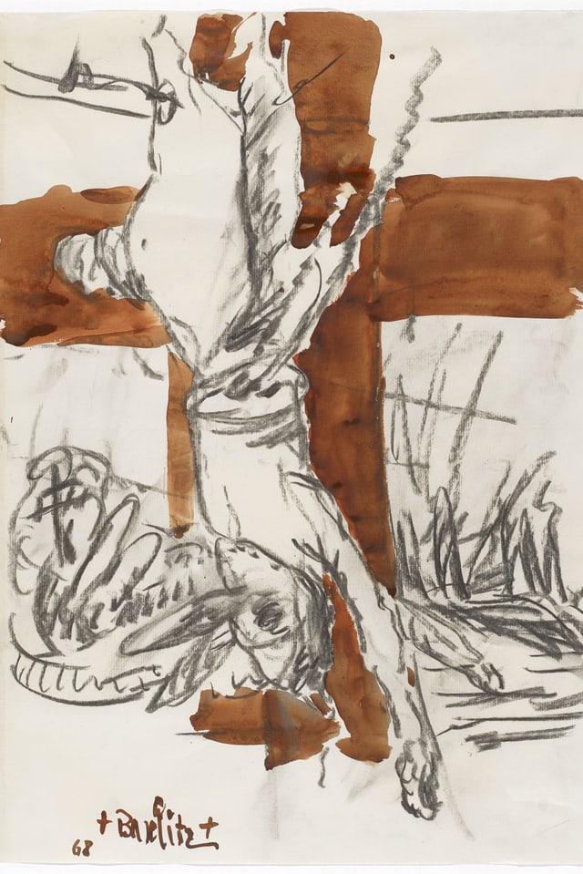 Die Zeichnung «Das Kreuz». Jesus hängt kopfüber am Kreuz.