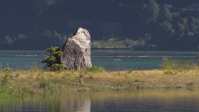 Ein Stein auf einer Insel im Urnersee