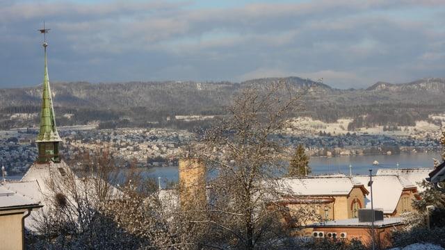 Blick von Uetikon am See auf den Zürichsee und die verschneite Albiskette.