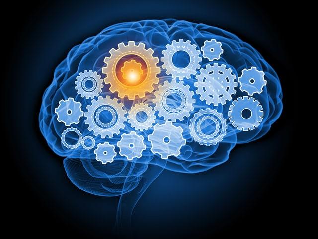 Symbolbild eines Gehirns mit Zahnrädern.