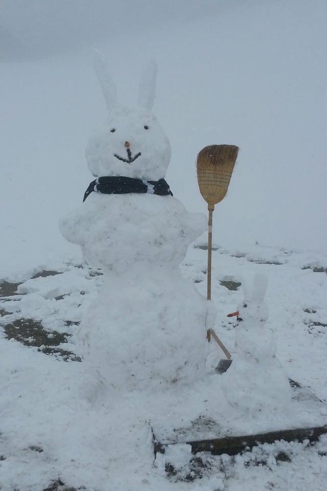Weisses Bild mit grauem Himmel und Hase aus Schnee im Vordergrund. Er trägt Schal und Besen und lacht.