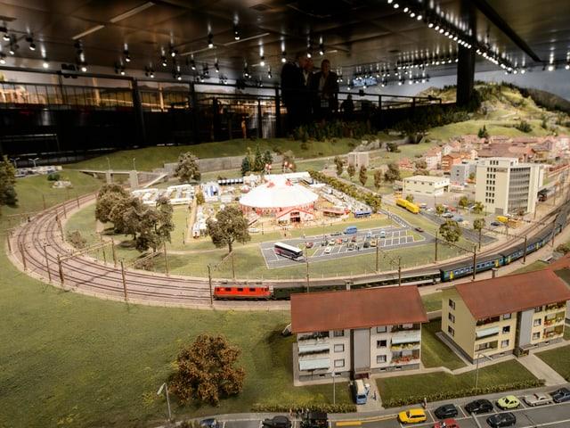 Blick auf die Modellbahnanlage im Musée du Chemin de fer du Kaeserberg