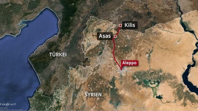 Kartenausschnitt mit Aleppo