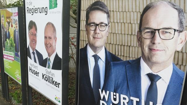 Wahlplakate am Strassenrand der CVP, SVP und der Grünen.