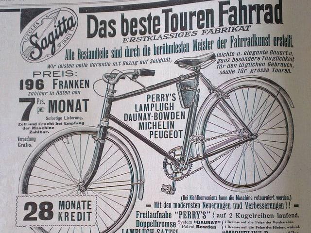 Werbeinserat für Tourenfahrrad aus Schweizer Illustrierten, 1914