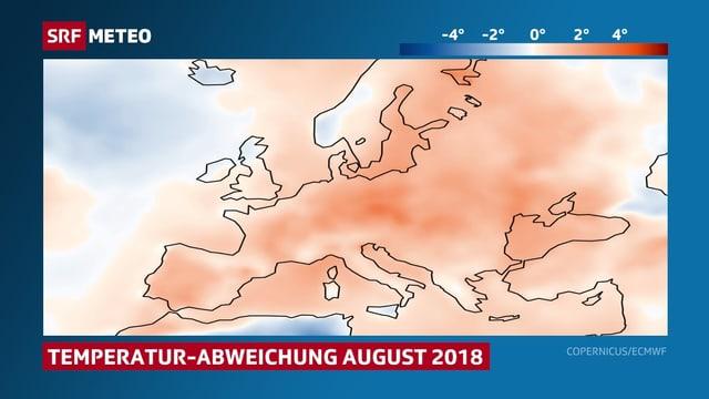 Rötliche Farbläche auf der Europakarte stellen die Temperaturabweichungen dar.