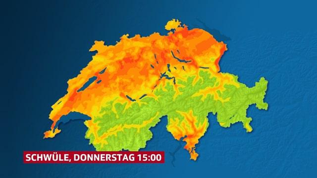 Ein Schweizerkarte zeigt das ganze Mittelland organge oder rot.