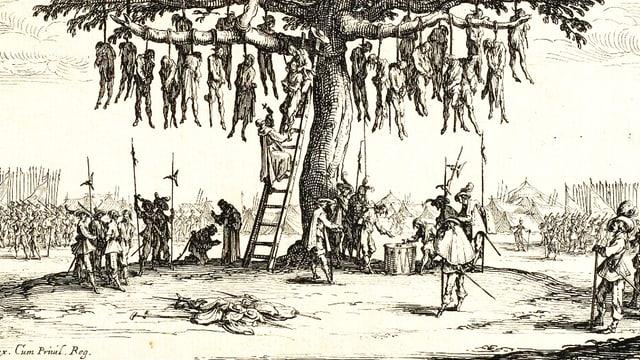 Zeichnung eines grossen Baumes, an dessen Äste zahlreiche Menschen erhängt werden.