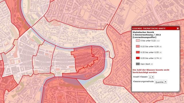 Dieser Karten-Ausschnitt zeigt die Leerwohnungsziffer für 3-Zimmerwohungen in der Stadt Bern.