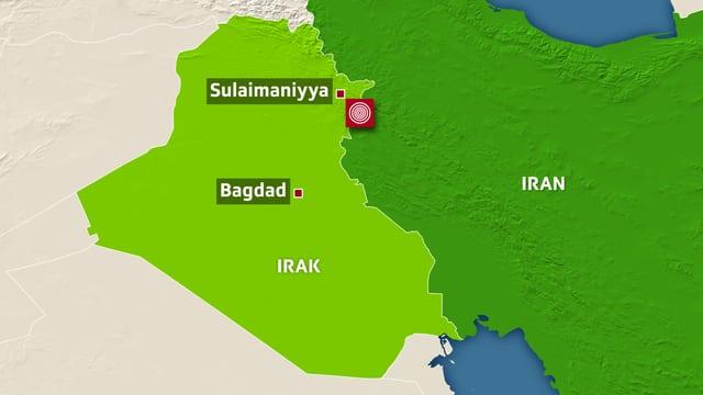 Karte Iran und Iraks in Grün.