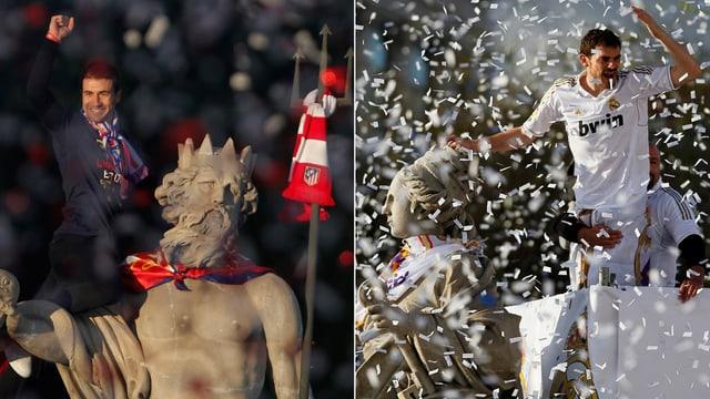 Atletico-Captain Gabi und Real-Captain Casillas feiern einen Titel an verschiedenen Brunnen