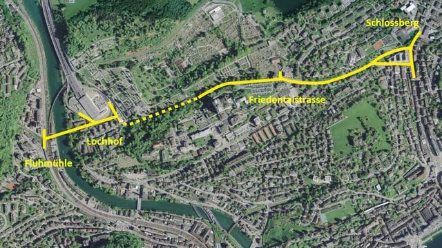 """Darstellung der geplanten Strasse """"Spange Nord"""" in Luzern."""