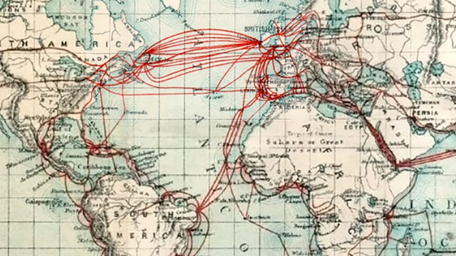 Erstaunlich viele Verbindungen: Seekabel der Eastern Telegraph Company um 1901.