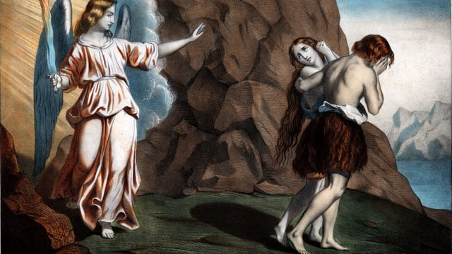 Adam und Eva werden aus dem Paradies vertrieben.