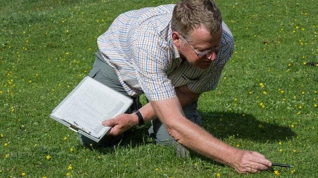 Martin Schütz kniet auf einer Wiese und betrachtet ein Blümchen.
