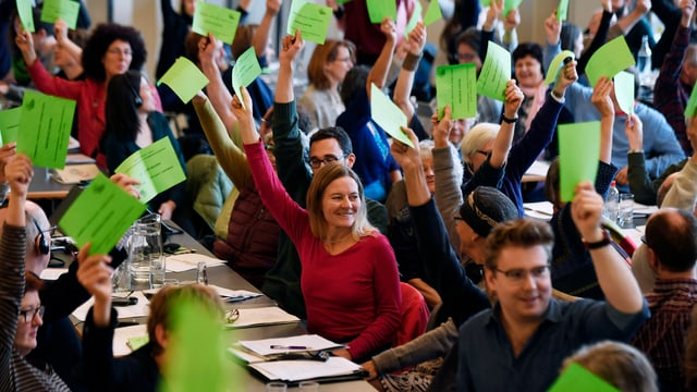 Zu sehen sind die Delegierten der Grünen an ihrer Versammlung in Olten.