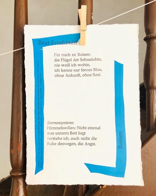 Mit einem Gedicht von Beat Brechbühl bedrucktes Papier