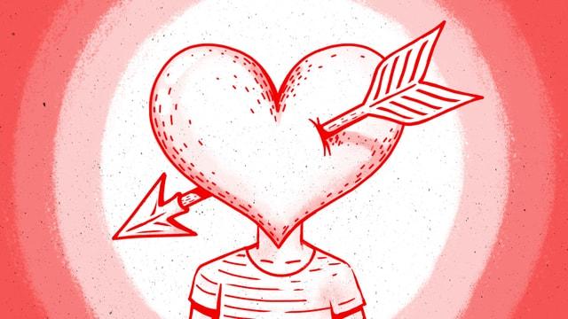 Illustration: Ein Herz, durchbohrt von einem Liebespfeil, als Kopf auf einem menschlichen Rumpf.