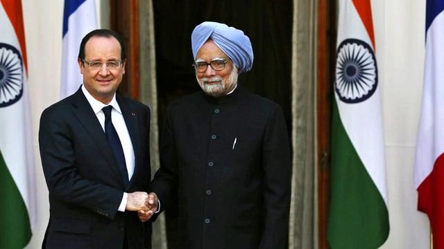 Frankreichs Präsident Hollande und Indiens Premierminister Manmohan Singh.