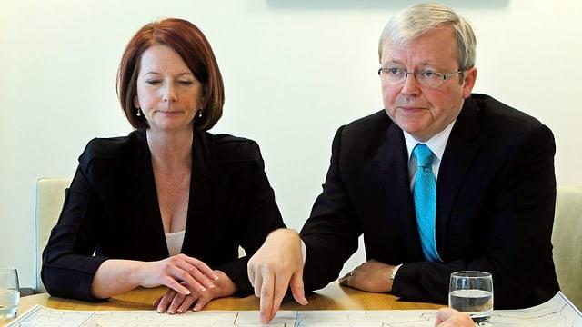 Julia Gillard und Kevin Rudd nach dem Putsch von 2010.