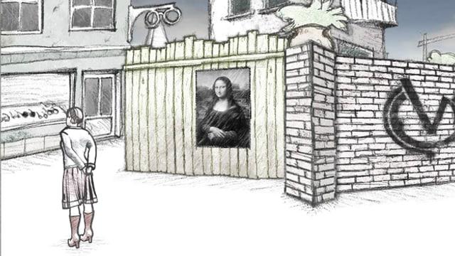 Animation von der Moderatorin, das Gemälde Mona Lisa im Hintergrund.