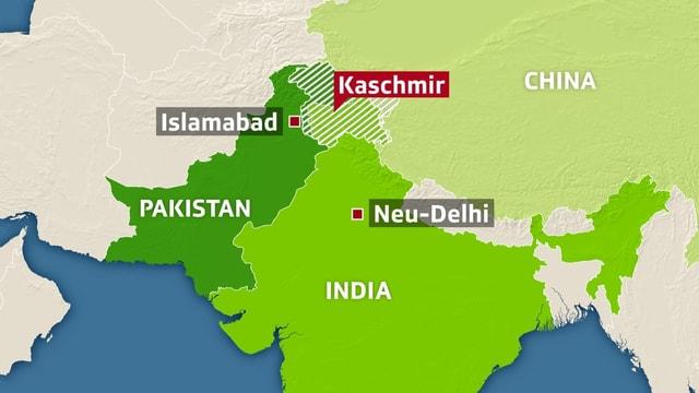 Charta cun localisaziun dal territori da Kaschmir.