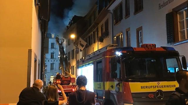 Löscheinsatz der Feuerwehr in der Rheingasse.