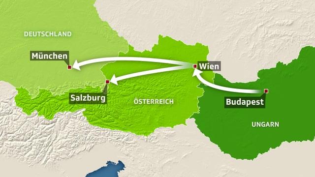 Die Route der Flüchtlinge.