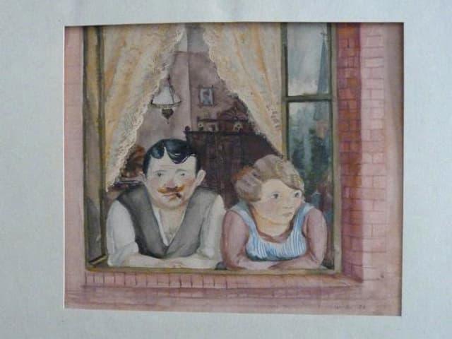 Ein Gemälde zeigt ein Mann und eine Frau, die aus einem Fenster blicken.