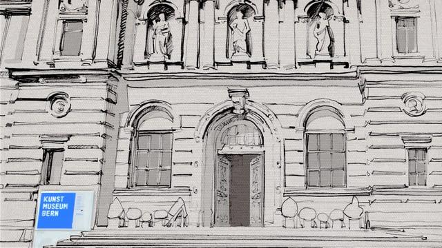 Zeichnung des Aussenfassade des Kunstmuseums in Bern.