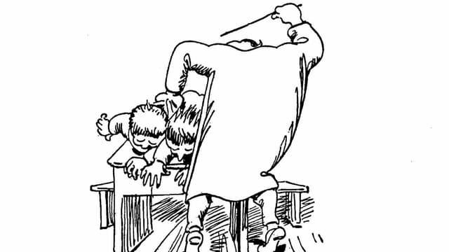 Ein Mann schlägt in einer Zeichnung mit einer Rute auf zwei Knaben ein.