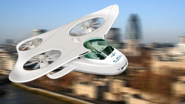 Mögliches Aussehen eines fliegenden Autos (künstlerische Darstellung).