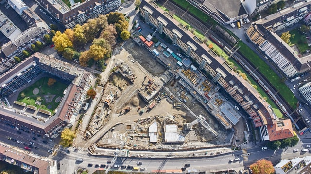 Luftbild von Baustelle.