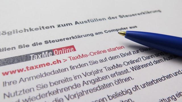 Infoblatt Taxme Online