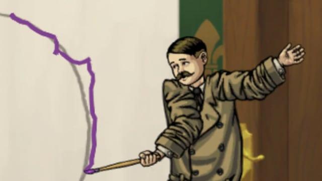 Der doppelte Hitler zeichnet einen Kreis.