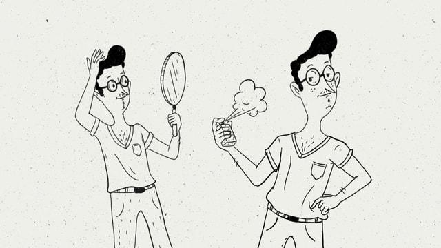 Eine Illustration von Nino Christen zeigt einen Mann, der sich schön macht.