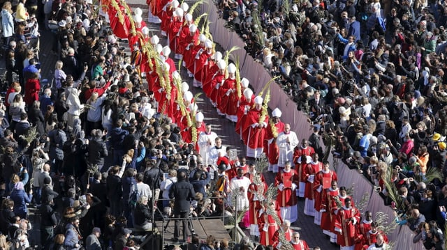 Processiun da palmas sin il plaz s. Peder a Roma.