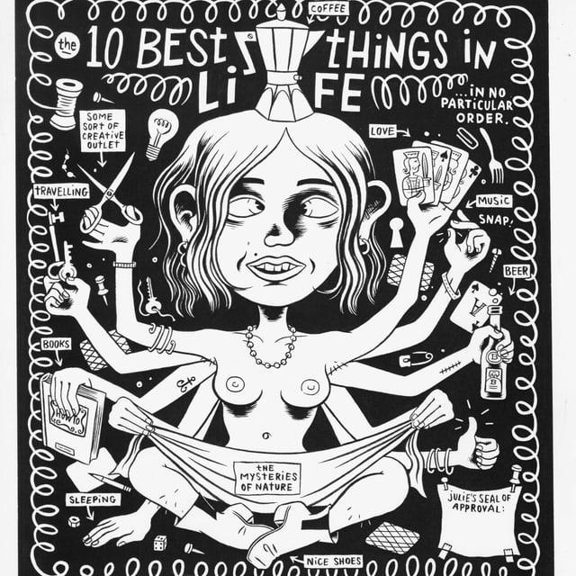 Zeichnung einer zehnarmigen Frau.