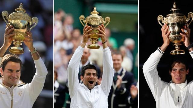 Roger Federer, Novak Djokovic und Rafael Nadal.