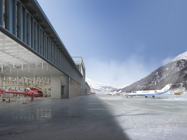 Visualisaziun dal nov hangar da helicopters.