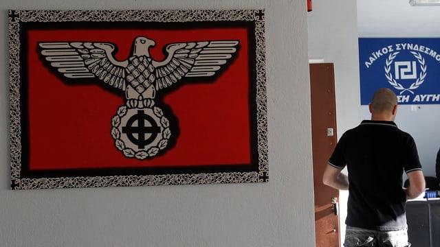 Parteibüro mit Nazifahne.