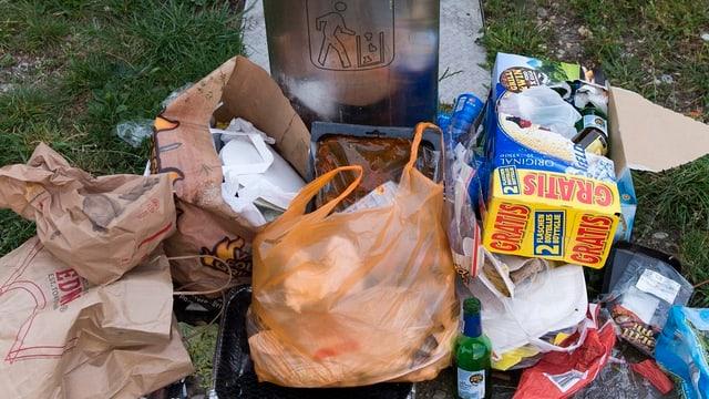 Abfall liegt auf einer Grünfläche. Im Hintergrund ein Abfallkübel.