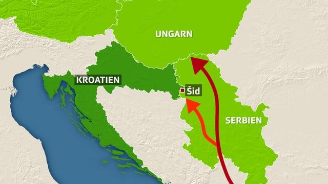 Karte mit Serbien, Ungarn und Kroatien eingezeichnet.