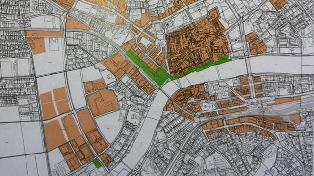 Karte mit farbigen Markierungen.