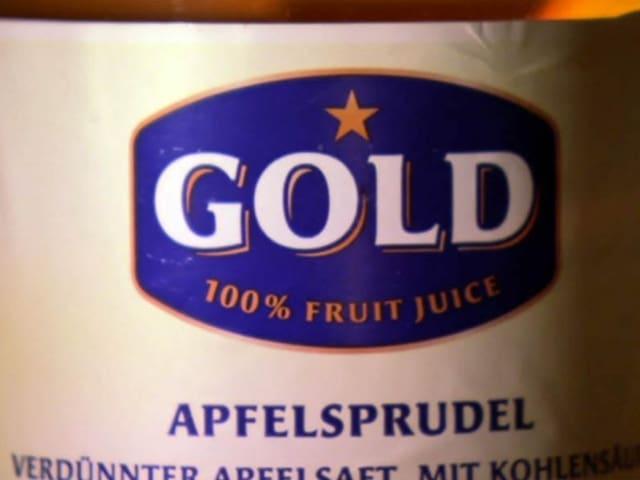 Etikette von auf Apfelstrudel-Flasche von Migros