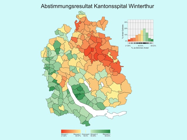 Eine Karte - die Gemeinden in der Nähe von Winterthur sind rot, diejenigen weiter weg grün