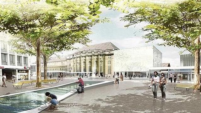Bahnhofsplatz mit Wasserspiel. Visualisierung.
