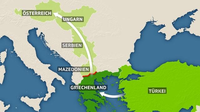Karte der Balkanroute von der Türkei über Griechenland nach Österreich und Deutschland.
