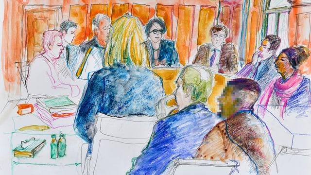 Aquarell-Zeichnung: Blick in eine Gerichtssaal, vorne der Angeklagte, hinten die Richter