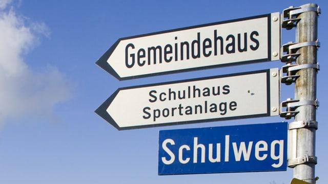 """Ein Wegweiser mit der Aufschrift """"Gemeindehaus"""""""